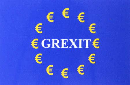 Grexit European flag Euro sign Stock Photo