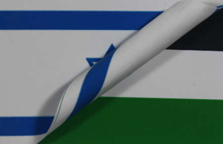 Flag Israel Palestine rolled Stock Photo