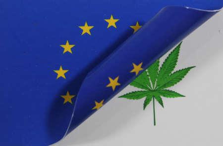 Europe Flag Cannabis Stock Photo