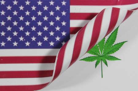 USA Flag Cannabis Stock Photo