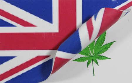 Great Britain Flag Cannabis Stock Photo