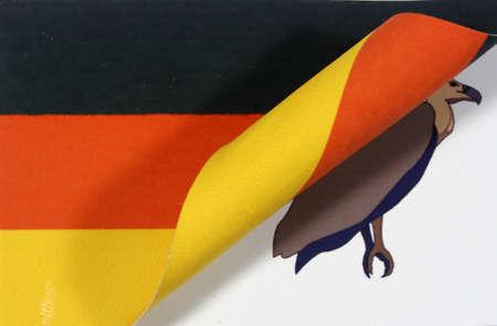 indebtedness: Germany flag Pleitegeier Archivio Fotografico