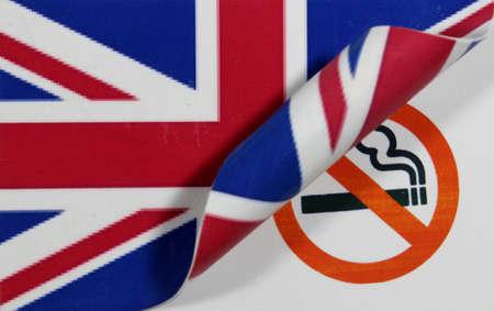 Great Britain Flag smoking Stock Photo
