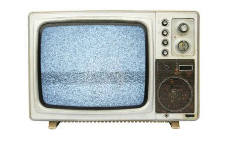 ruido: Cosecha vieja TV sobre un fondo blanco
