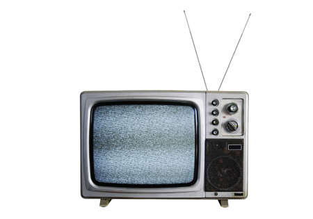 An old TV with the noise on white background Stock Photo