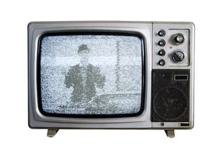 An old TV with the noise on white background photo