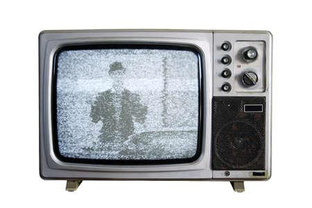 television antigua: Un viejo televisor con el ruido en el fondo blanco