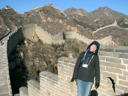 Tourist resting on the Great Wall of China at Badaling, outside of Beijing. photo