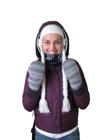 wintery: This is a woman getting ready to brave the cold and wintery outdoors.
