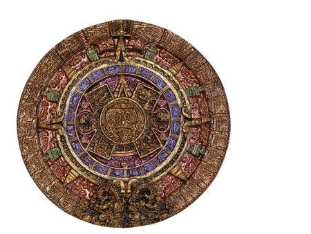 almanak: Een Maya kalender gemaakt van chocolade en geschilderd met goud.