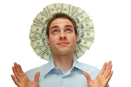A young man with a halo of money behind his head isolated over white.  photo