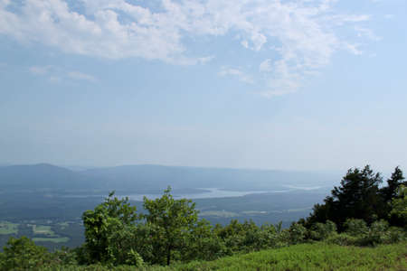 Mt Magazine State Park in Arkansas. A view from 2,753 feet above sea level of Petit Jean Valley and Blue Mountain Lake.