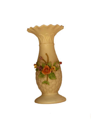 Antique Ivory Vase.  A very old vase, around one hundred years old. Stock Photo