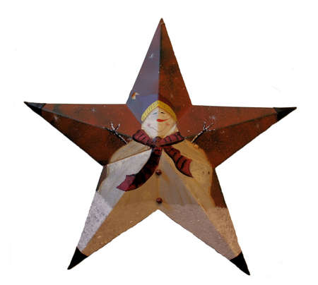 Christmas Snowman Star. A metal star with hand painted snowman.