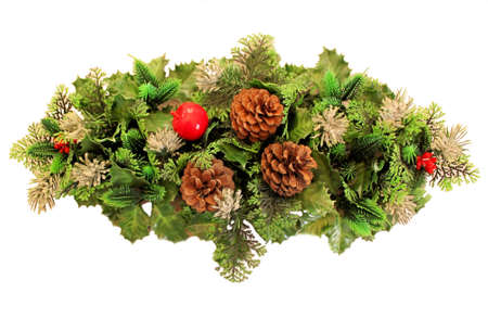 Old Plastic Christmas Wreath. Stock Photo