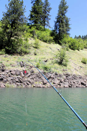 Fishing on Dworshak lake in Idaho. Stock Photo