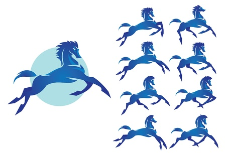 bronco: Bucking Bronco   The wild stallion blue color Illustration