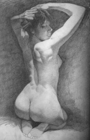 canvas: Back muscle of the woman on canvas