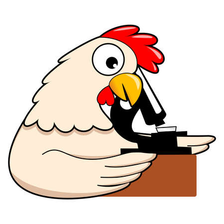 Chicken Cartoon characters using a microscope  in the laboratory