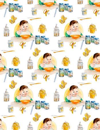 puree: Baby seamless. Watercolor hand drawn. Newborn food. Illustration Stock Photo