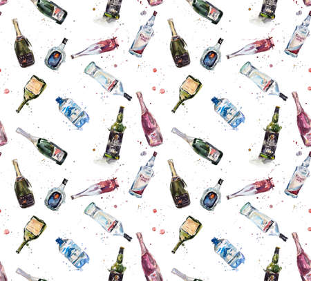 drinks on bar: Seamless different bottles. Watercolor hand drawn illustration Stock Photo