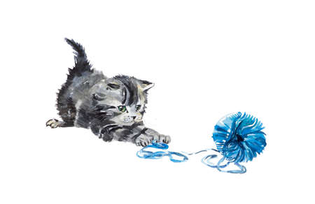 Kitten with a ball. Watercolor composition. Hand drawn illustration.