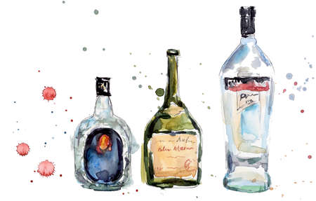 Different bottles. Watercolor hand drawn illustration
