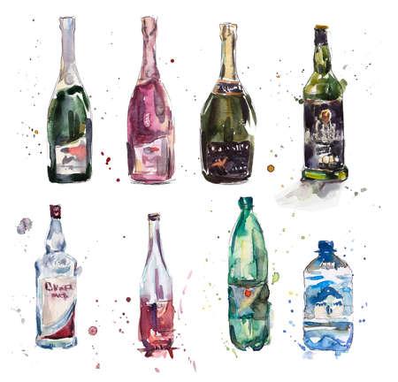 botella de whisky: Diferentes botellas. Ilustraci�n de la acuarela dibujado a mano Foto de archivo