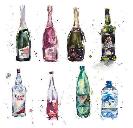 champagne: Different bottles. Watercolor hand drawn illustration