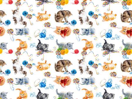 yarns: Seamless cats yarns. Kitten hunts on a balls of threads. Hand drawing watercolor illustration. Stock Photo