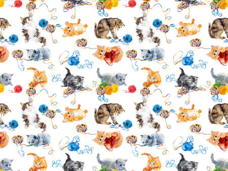 Seamless cats yarns. Kitten hunts on a balls of threads. Hand drawing watercolor illustration. Stock Photo