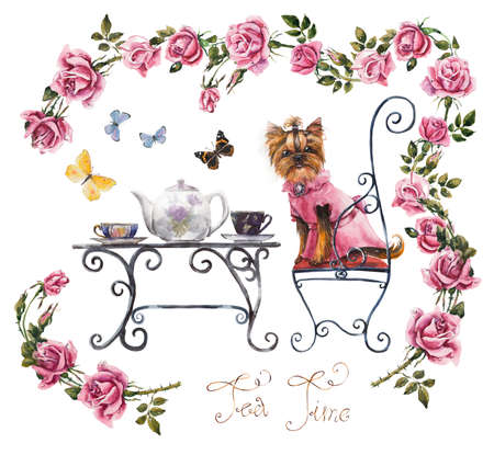 Yorkshire terrier. Tea table in the garden. Two cup of tea. Frame from pink roses. Invitation to tea drinking. Watercolor hand drawn illustration.