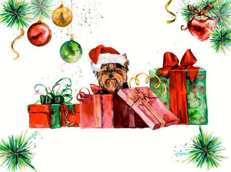 cajas navideñas: Yorkshire Terrier. Ridículo fondo perrito, composición de la acuarela. Mano de dibujo de color del agua. Ilustración. Tarjeta del Año Nuevo. Foto de archivo