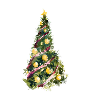 aquarell: Christmas tree. Watercolor hand drawn illustration.