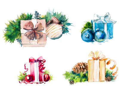 painting style: Set with different presents. Watercolor hand drawn illustration.