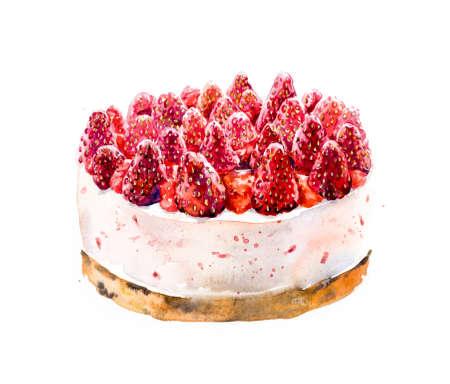 tortas de cumpleaños: Las fresas Torta de la galleta. Mano acuarela dibujada ilustración.