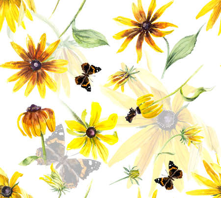 Seamless pattern of yellow rudbeckia. Decoration with blooming flowers. Dark background. Watercolor hand drawing illustration