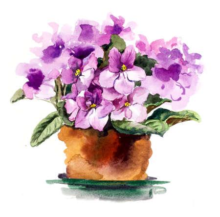 Chambre violette. Illustration aquarelle dessinés à la main.