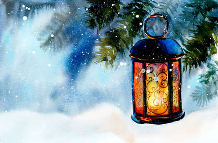Lamp on snow. New Years and Christmas motive. Snow winter. Hand drawn watercolor illustration.