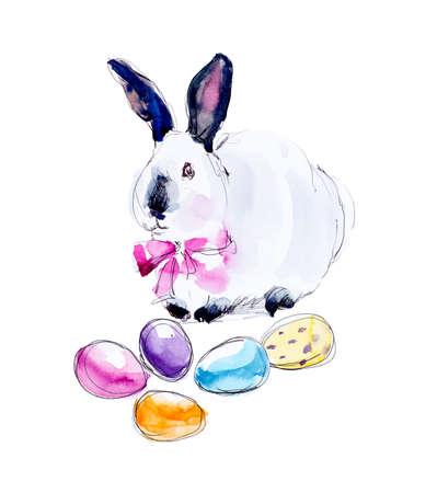 lapin: Lapin aux oeufs de Pâques. Composition printanière. Illustration d'illustration à l'aquarelle à la main. Banque d'images