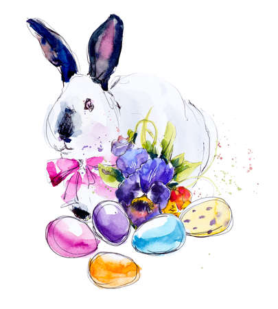 postcard background: Rabbit with easter eggs. Spring composition. Decoration with flowers. Watercolor hand drawing illustration.