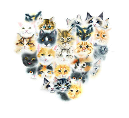 Heart cats. Watercolor hand drawing illustration