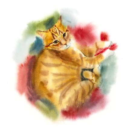 Red domestic cat. Watercolor hand drawing illustration Banco de Imagens