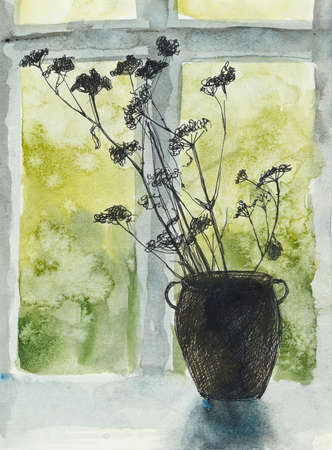 Vase with dried flowers. Outside the window rain. Watercolor hand drawing illustration