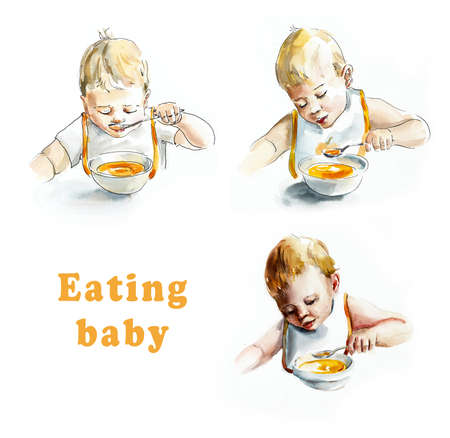 Baby eating. My first food. Watercolor hand drawing illustration