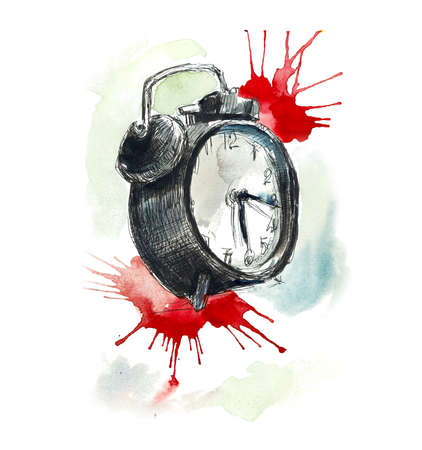 Old clock. Sketch objects. Hand drawing. Gel pen. Watercolor sketch with splash Stock Photo