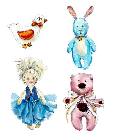 Set with hand made toys. Watercolor hand drawing illustration Stock Photo