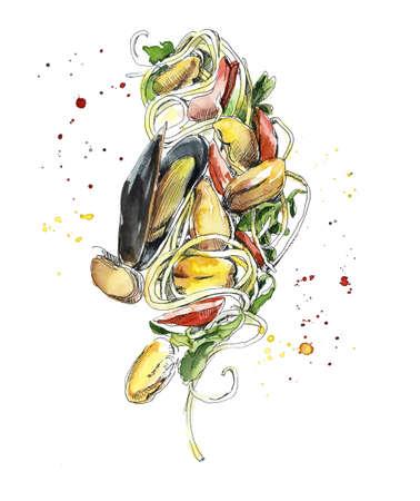 Spaghetti and sea mollusks. Italian food. Watercolor hand drawn illustration.