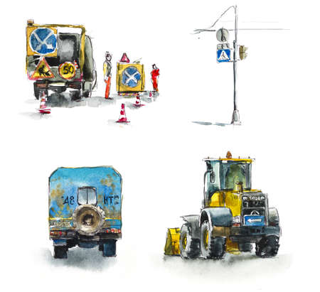 Roadwork, loader, road signs. Watercolor hand drawing illustration