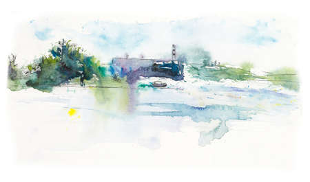On the bank of the big river Neva. Russia. City landscape. Watercolor hand drawing illustration 版權商用圖片